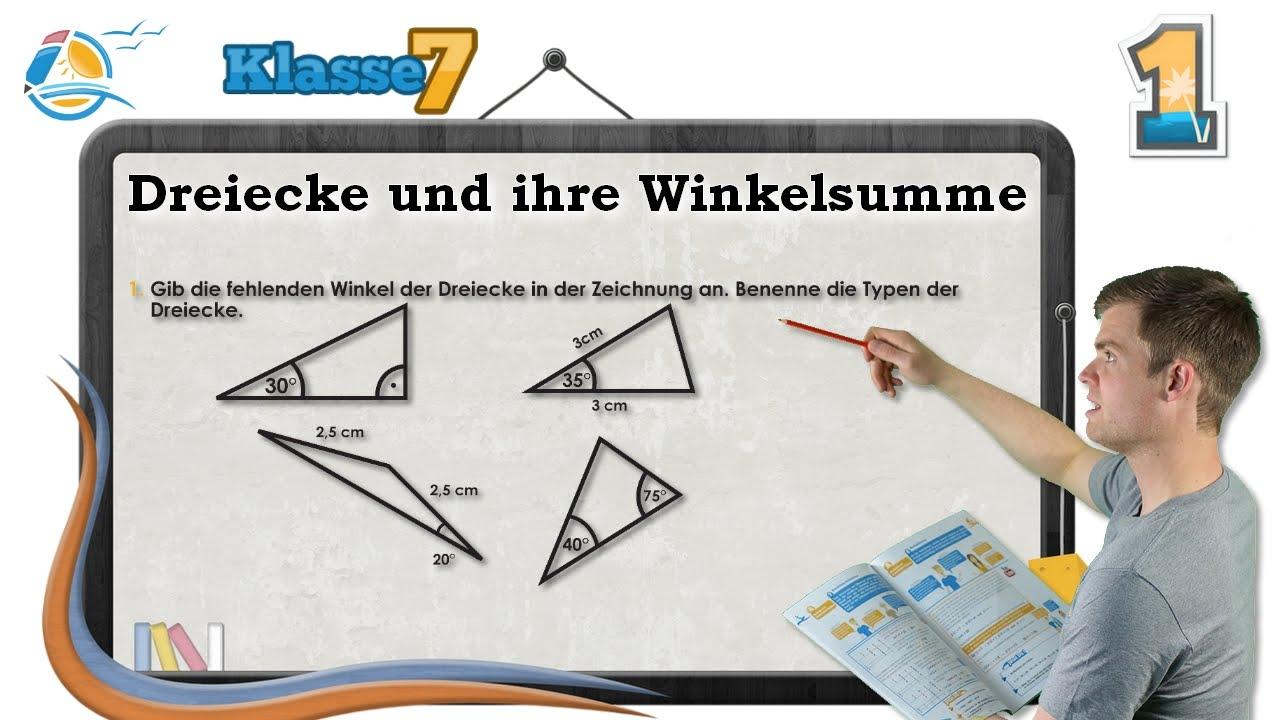 Dreiecke und ihre Winkelsumme || Klasse 7 ☆ Übung 1 - YouTube