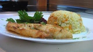 Филе телапии в маринаде с рисом и морковкой рецепт