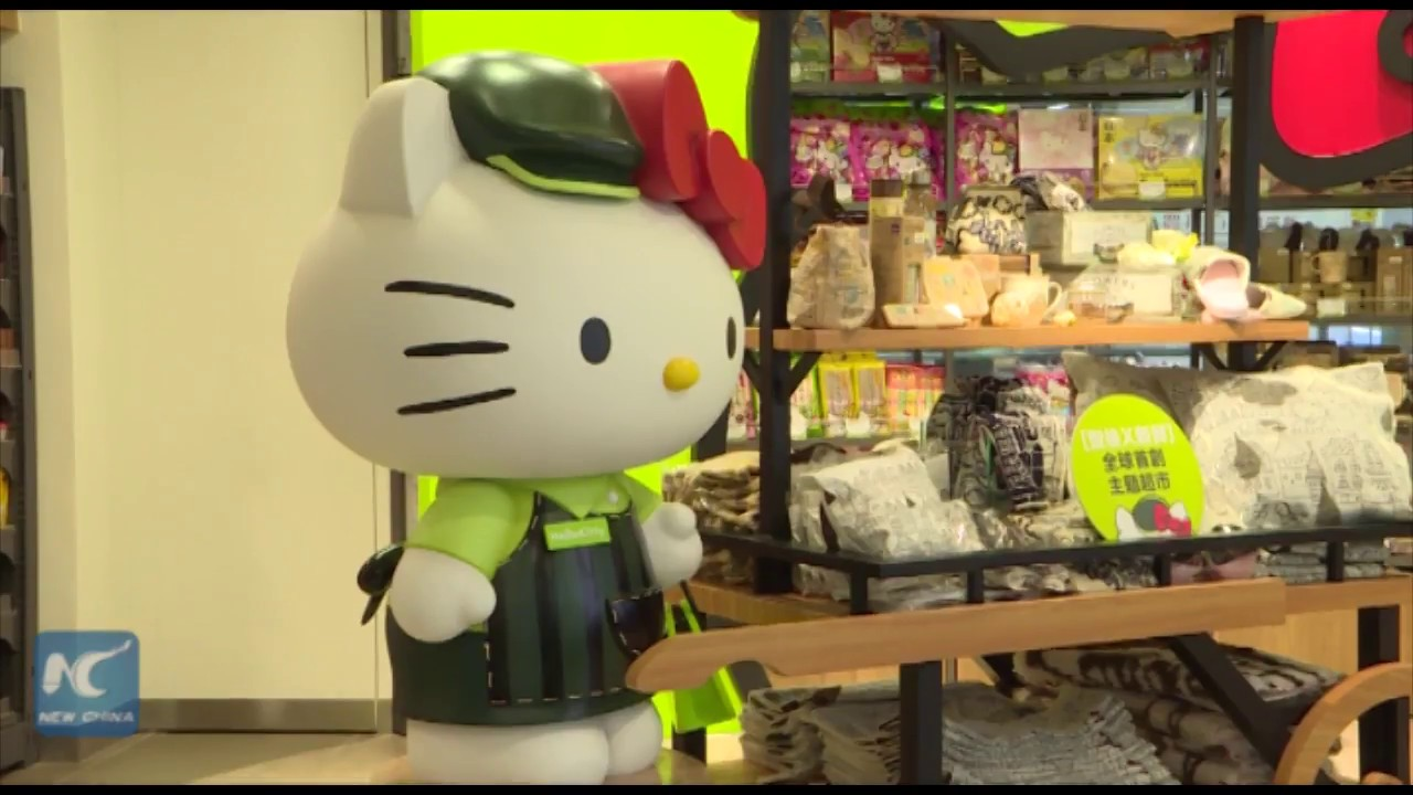 9180d4a75 First Hello Kitty pop-up supermarket opens in Hong Kong - YouTube