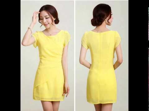 แฟชั่นชุดทำงานสวยๆ : ชุดเดรสทำงานสีเหลือง แนวหวาน เรียบร้อย สไตล์เกาหลี