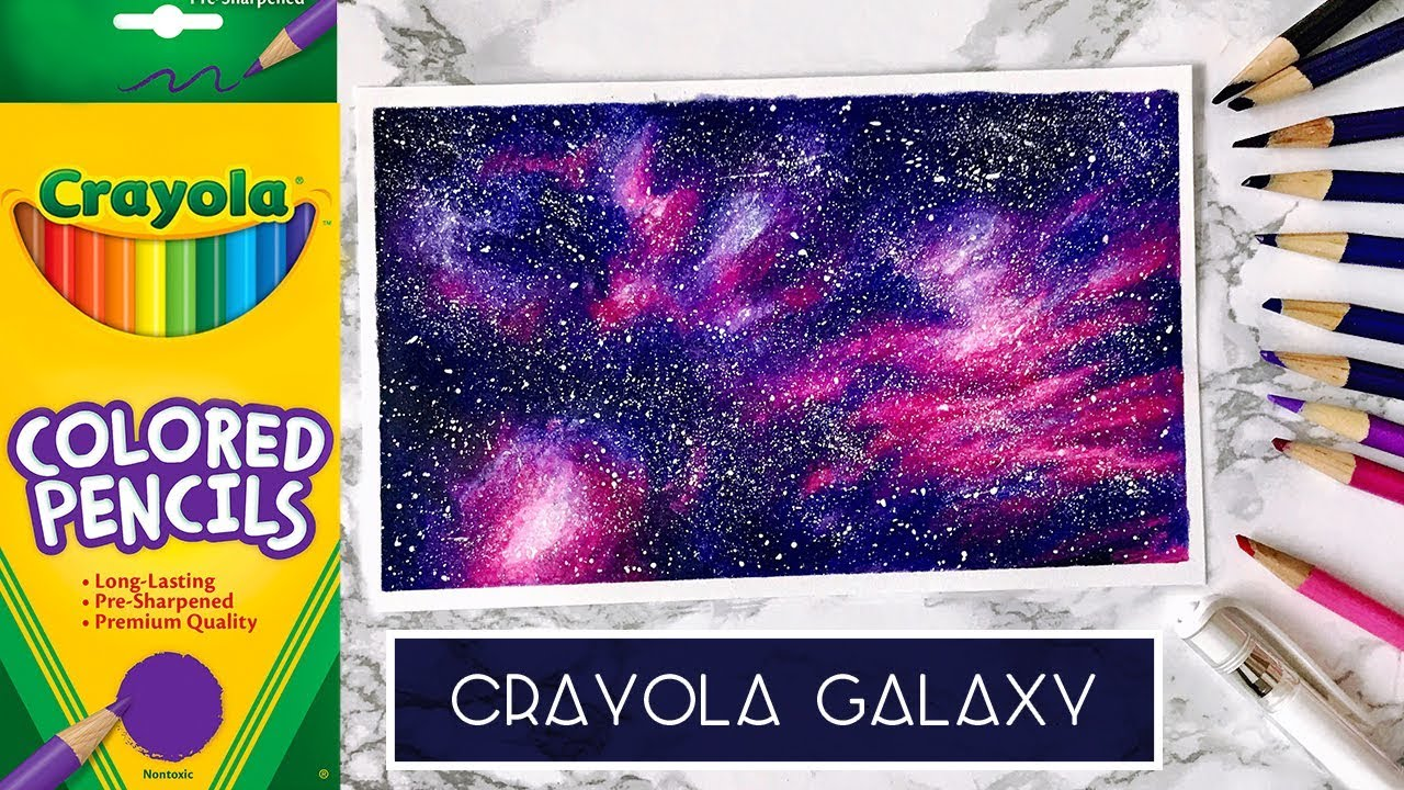 Draw a galaxy with cheap coloured pencils crayola challenge