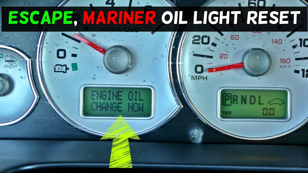 How To Reset Change Engine Oil On Ford Escape Mercury Mariner