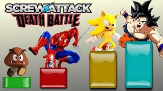 ScrewAttack Death Battle characters from WEAKEST to STRONGEST!