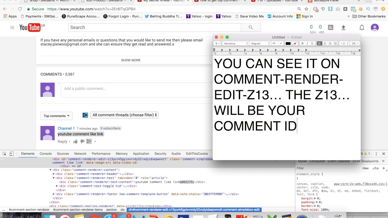 how to get youtube comment id for youtube comment likes youtube