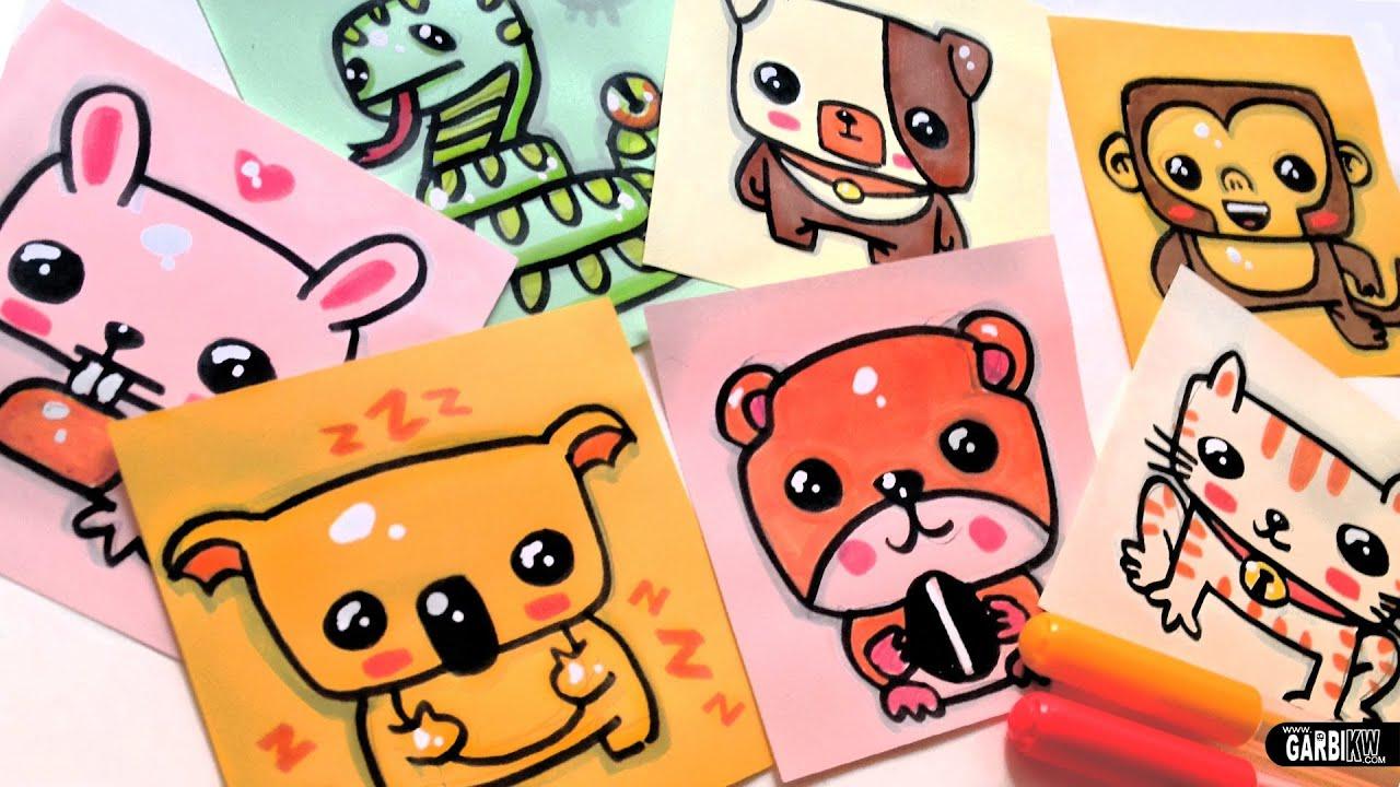 How To Draw Cute Animals - Dog, koala, rabbit, cat, monkey ...