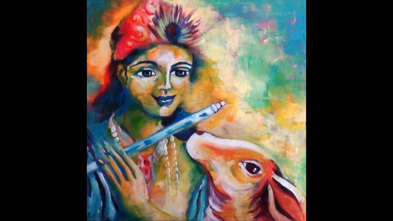 Oil Painting Effect Using Acrylic Paints Krishna And Holy