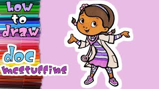 Doc McStuffins - How to Draw and Paint Dottie McStuffins - Art Coloring for Kids - learn to draw