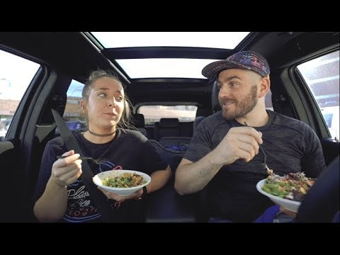 our car eating show (vegan poke)