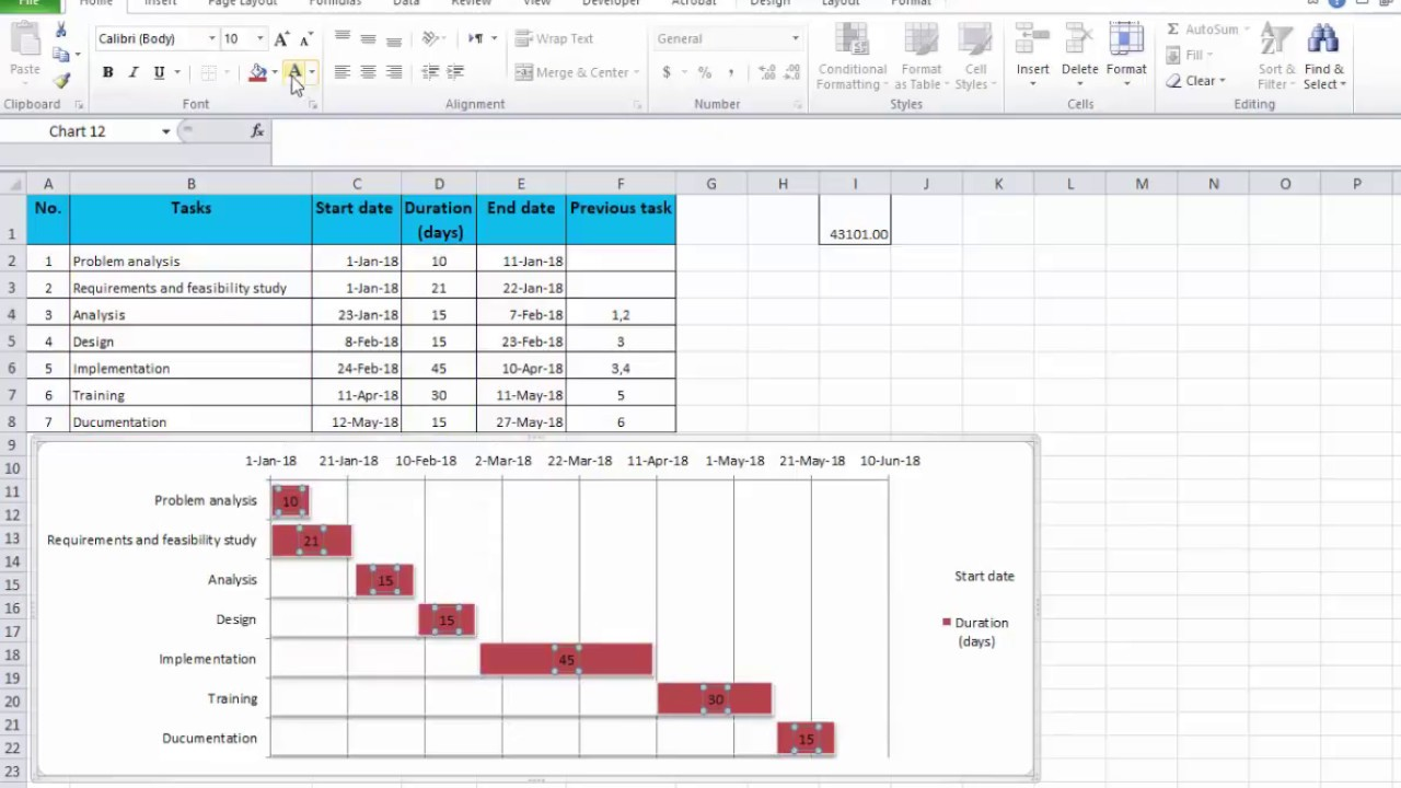 Project plan in excel. - YouTube