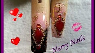 French sencilo  con gema de acrilico en uñas acrilicas♥♥♥