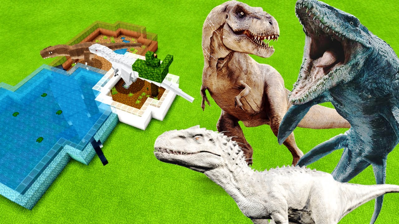 MCPE: How To Make an INDOMINUS REX, MOSASAURUS & T-REX FARM (Minecraft PE)
