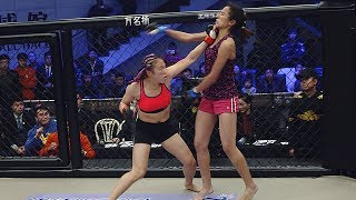 China MMA female fighter Wang Xue MMA first fight heavy punch KO opponent win