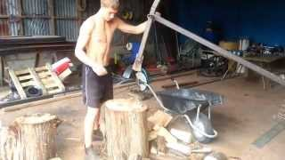 Manual Log Splitter made from steel off-cuts and car spring.