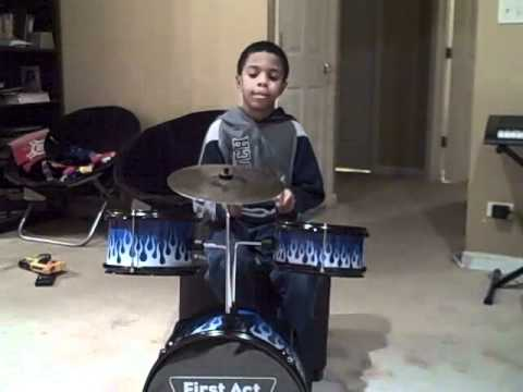 First Day with First Act Discovery Drum Set (age 6) - YouTube
