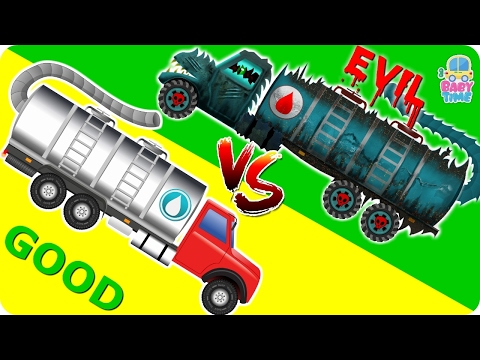 Water Tanker War | Good Vs Evil | Scary Heavy Vehicles | Halloween Videos For Kids
