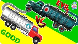 Water Tanker War   Good Vs Evil   Scary Heavy Vehicles   Halloween Videos For Kids