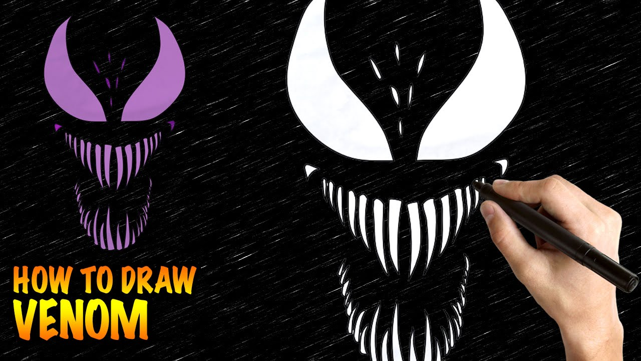 How To Draw Venom Easy Step By Step Drawing Lessons For Kids Youtube