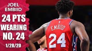Joel Embiid drops 24 points while wearing No. 24 for Kobe Bryant | 2019-20 NBA Highlights
