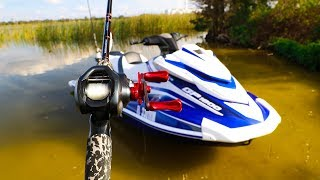 Fishing on SuperCharged Jetski in Swamp!! (Surprise catch)