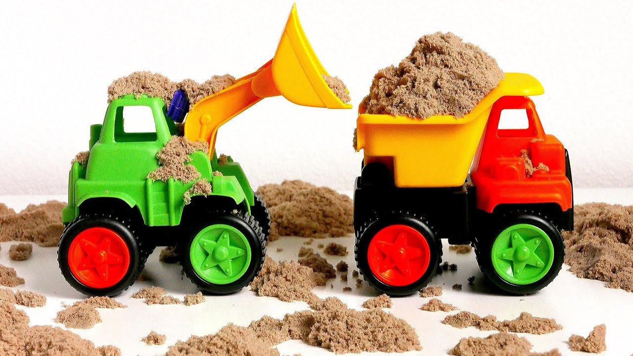 Construction Trucks Toys For Kids Paw Patrol Playing In Kinetic Sand