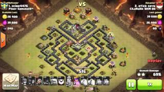 Clash of Clans TH9 War Attack strategy - 3 Star (GOHO) Versi Bapau ubi ungu