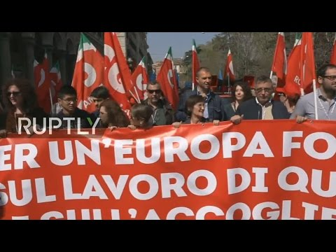 LIVE: Protest set to take place in Rome for 'another Europe'
