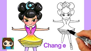 How to Draw Chang'e Moon Goddess Over the Moon