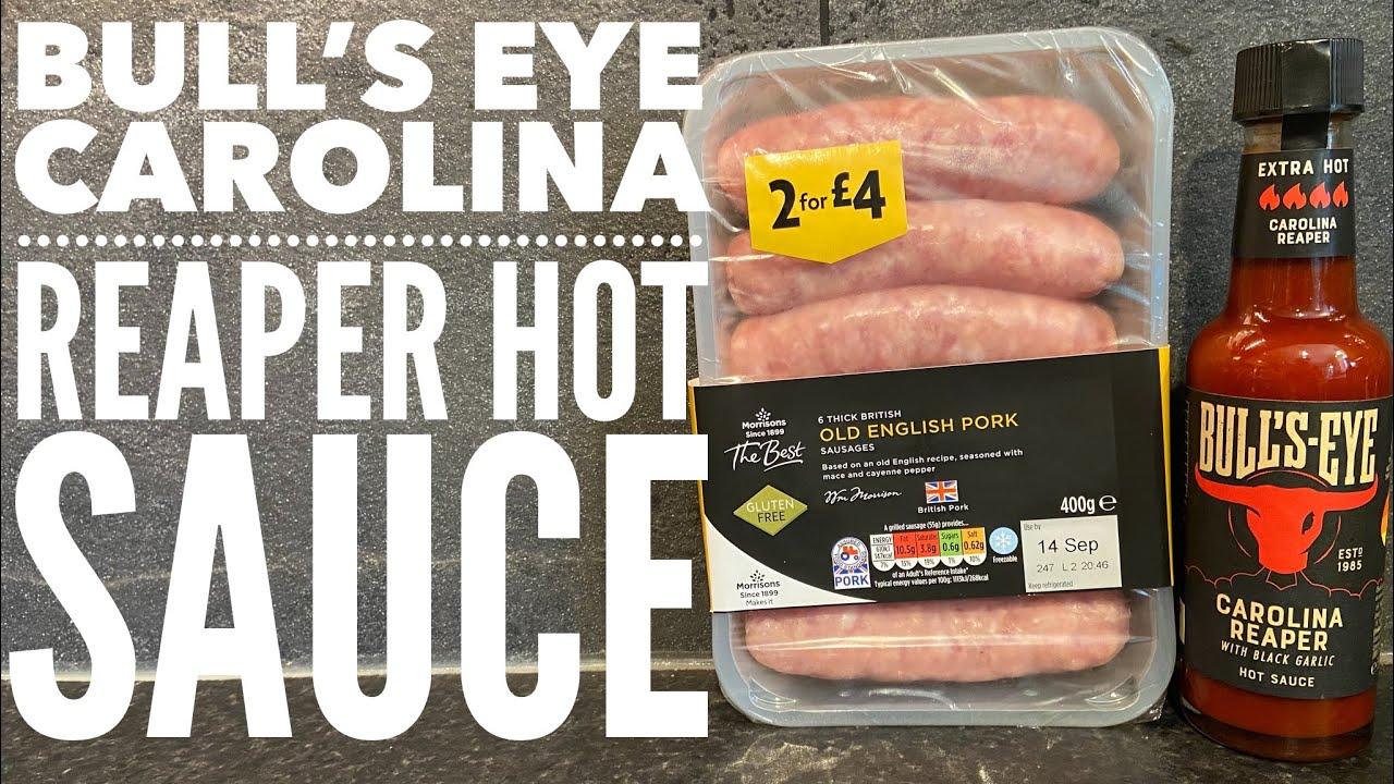 Drinking Bull's Eye Carolina Reaper Hot Sauce From The Bottle & Morrison's Old English Pork Sausages