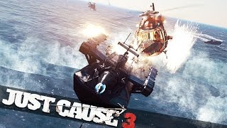 CRASHING INTO A HELICOPTER WITH A BOAT!!! :: Just Cause 3 Stunts Bavarium Sea Heist Expansion!!
