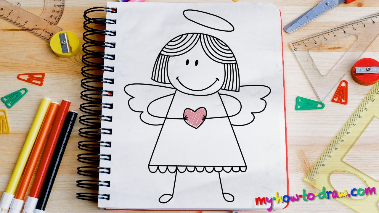 how to draw an angel easy step by step drawing lessons for kids youtube