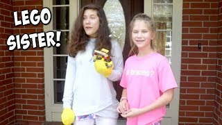 LEGO Sister in Real Life! Giant Lego Learns to Love SuperHero Kids Funny Skit