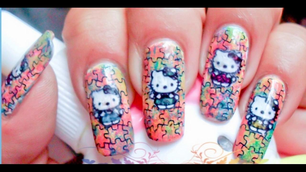 Hello Kitty Uñas Decoradas Design Sencillas Y Elegantes Youtube