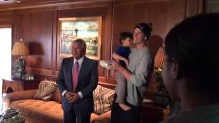 Tom Brady & Benjamin - Robert Kraft's Home September 24, 2013