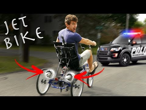 DIY JET BIKE GOES WAY TOO FAST - COPS CALLED (Pulled over)