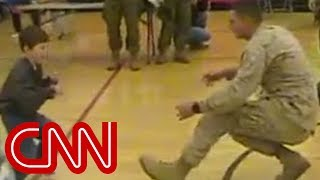A boy with cerebral palsy walks to his Marine dad for the first time thumbnail