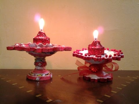 Best out of waste paper candle and diya stand youtube for Best out of waste with paper