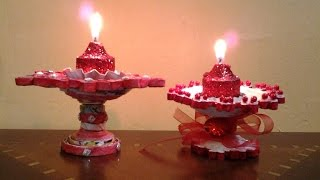 Best Out Of Waste Paper Candle and Diya Stand
