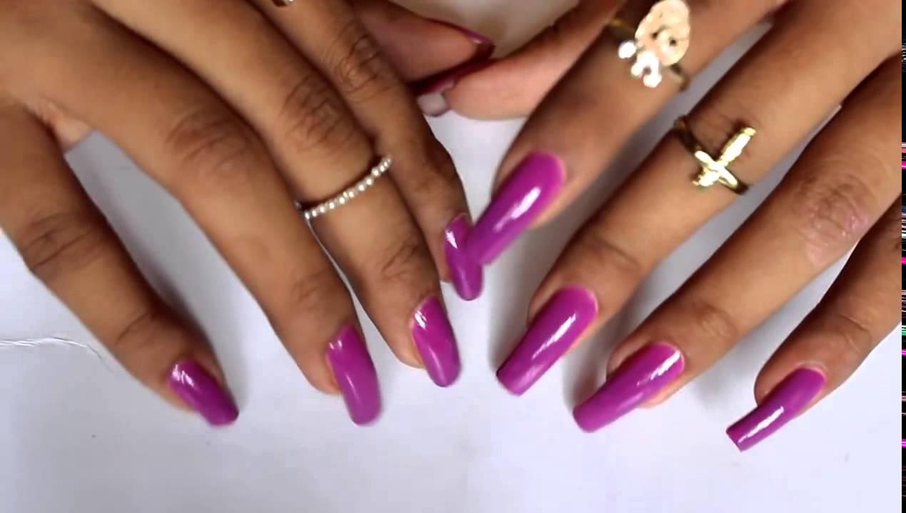 purple long natural nails beyonceesha