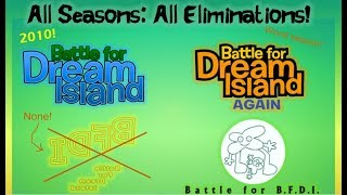 Battle for Dream Island: ALL ELIMINATIONS SEASON 1-4 (10 YEARS OF BFDI!)