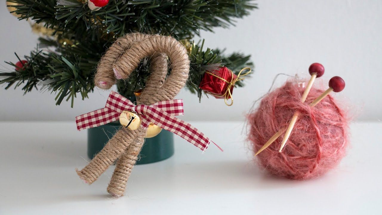 diy christmas ornaments yarn ball vintage candy canes youtube - Christmas Decoration Catalogs