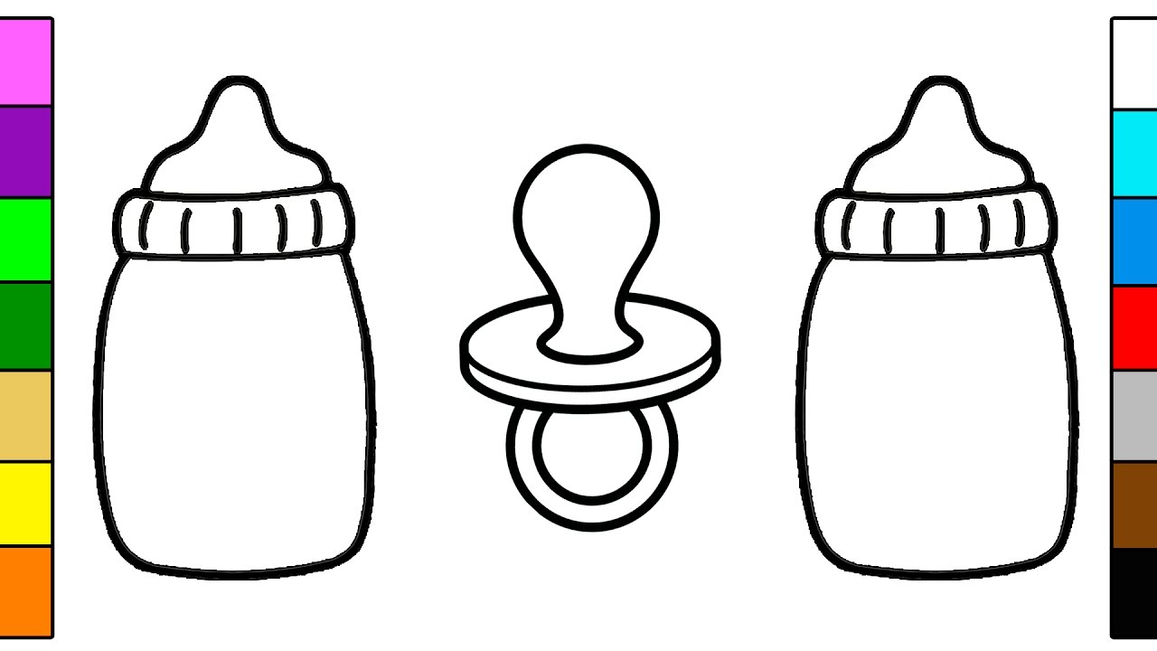 Baby Dummy and Bottle Coloring Page for Kids - YouTube