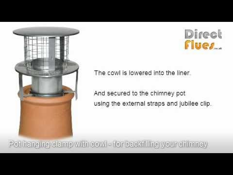 Installing Flue Liner And Insulating Chimney Using Pot