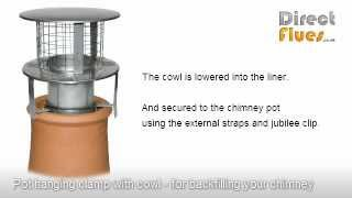 Installing flue liner and insulating chimney - using pot hanging clamp and cowl