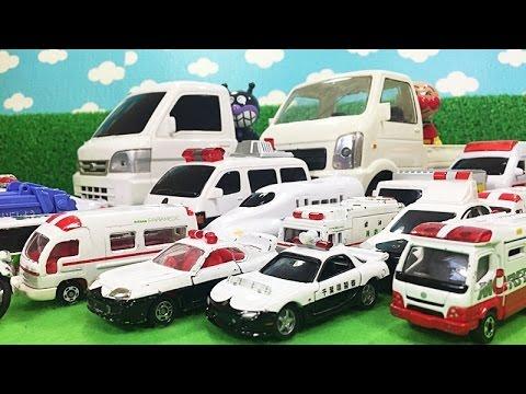 ちびっこギズモのはたらくくるま動画 白い車をどっちがいっぱい持っているか対決! アンパンマンとバイキンマンがガチンコ勝負 トラックや救急車 パトカーや清掃車が出る子供向け KIDS向け 乗り物動画