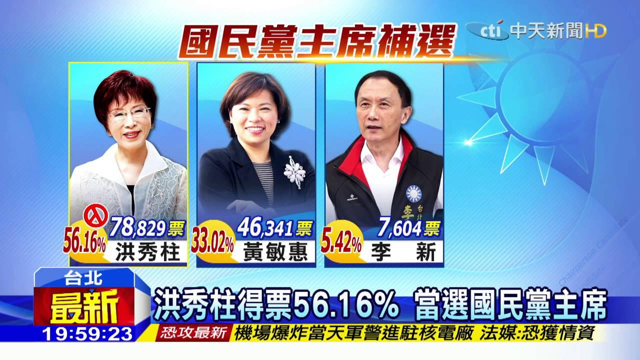 20160327中天新聞 百年首位女黨魁 洪秀柱當選國民黨主席 - YouTube