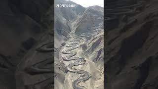 Incredible winding mountain road with hairpin turns in NW China's Xinjiang. #AmazingChina
