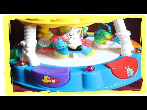 Light-up carousel + Music WOW a cute cat, duck, dog on  horses playing nice toy for kids