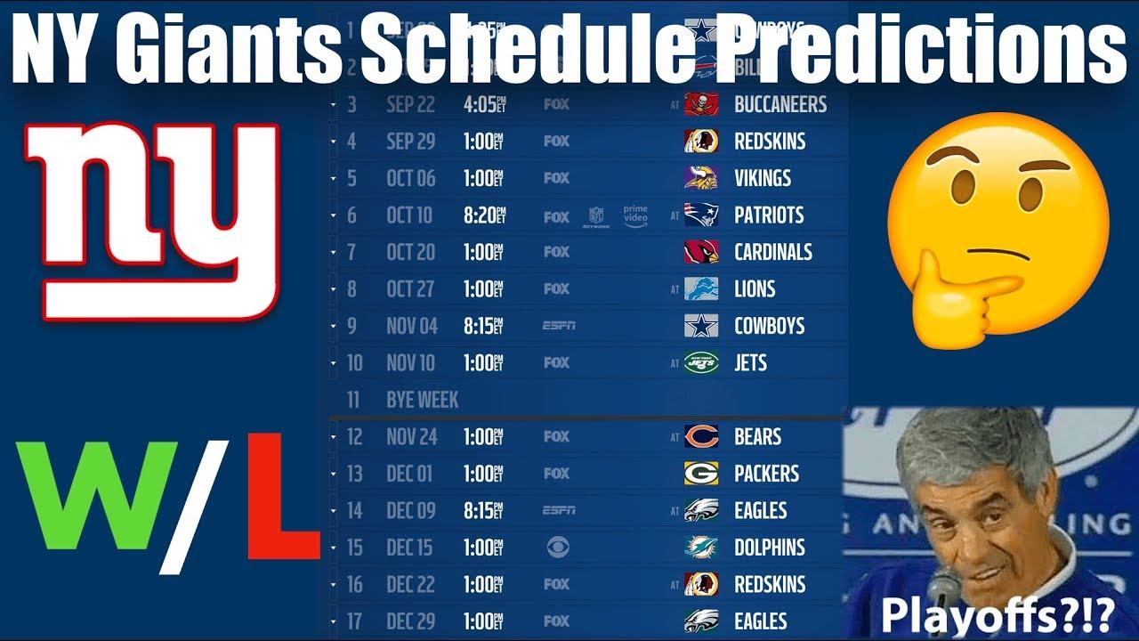 NY Giants Win/Loss Predictions 2019