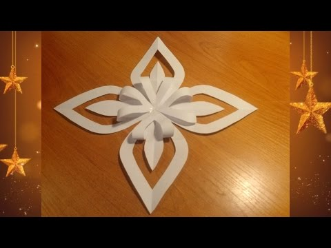 How to make a three dimensional snowflake out of paper