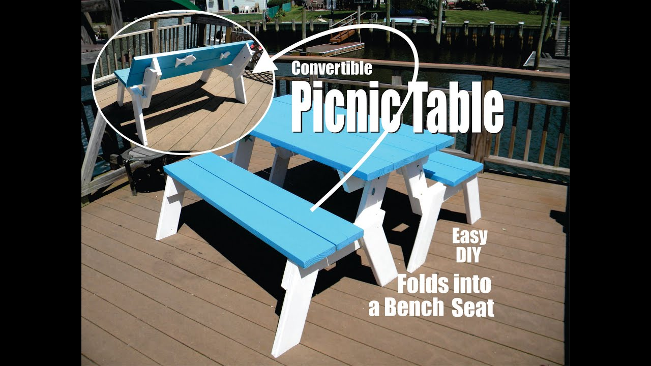 Diy Convertible Picnic Table That Folds Into Bench Seats Youtube